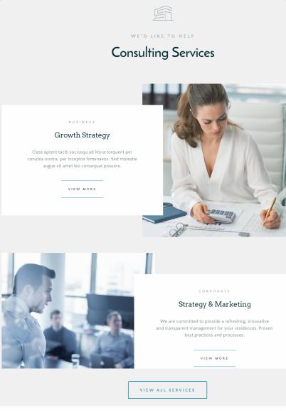 Services on homepage - Advisors ThemeFuse Core