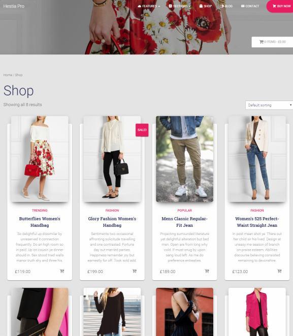 WooCommerce Shop Page - Hestia Pro