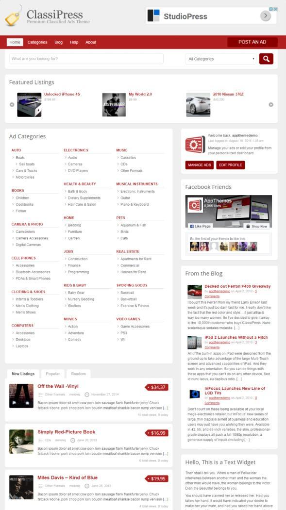 ClassiPress AppThemes REVIEW : WordPress Classified Ads Theme