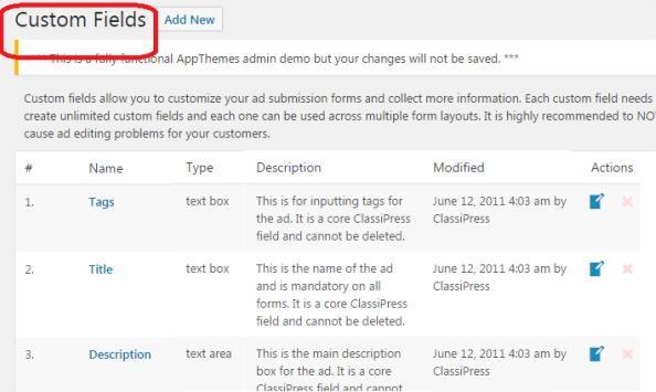 Custom Fields for Ads listing form - ClassiPress