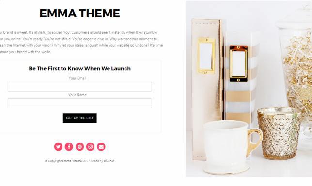 Bluchic Emma : Feminine Landing Page WordPress Theme