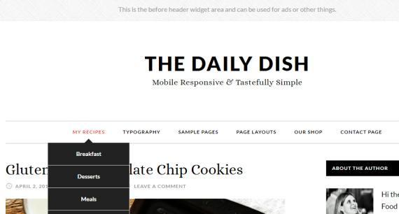 Header Options and Menus - Daily Dish Pro