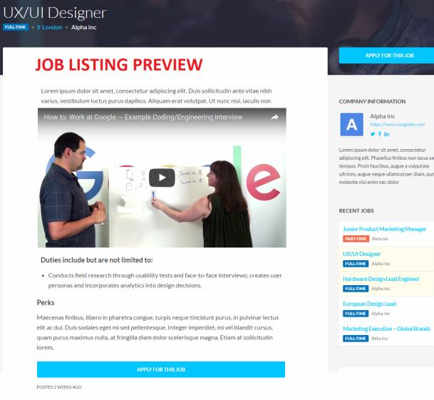 Job Listing Preview - Specialty Demo