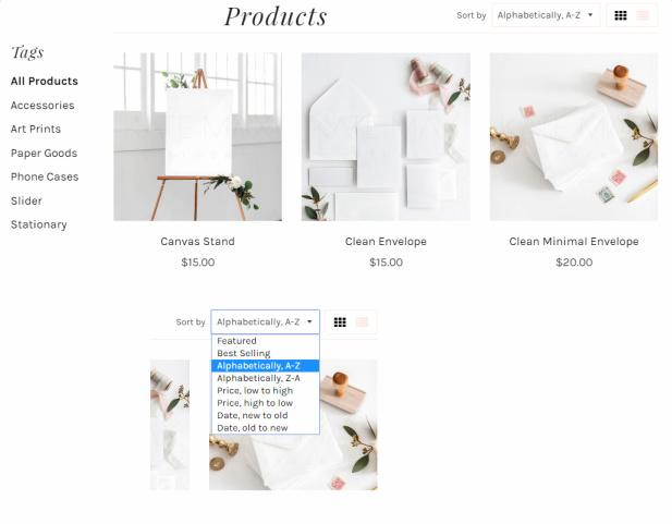 Adrianna Shop Page - Filter and Layout Options