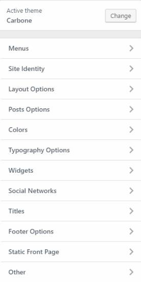 Carbone Customizer - Options panel for restaurant theme