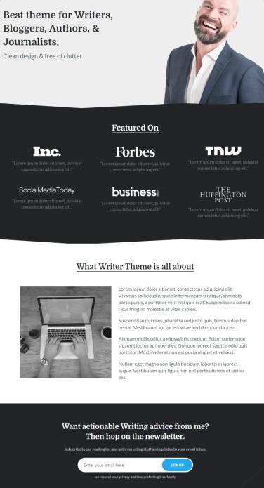 Default Homepage - Writer MyThemeShop Demo