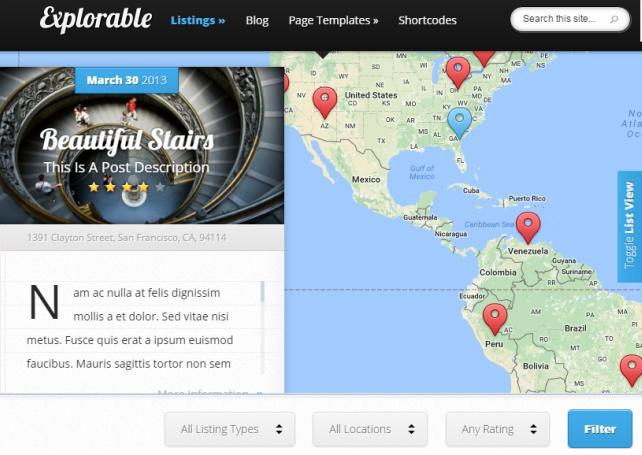 Explorable Elegant Themes : Location Directory Theme