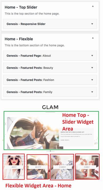 Home Widget Areas - Glam Pro