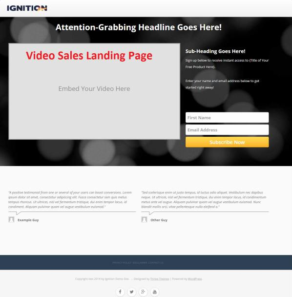Video Landing Page - Ignition Thrive Themes