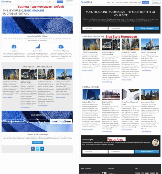 Homepage Layouts - FocusBlog Theme