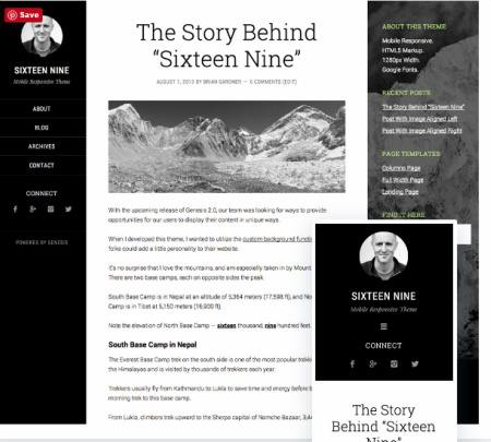 Genesis Sixteen Nine Pro : StudioPress Blogging Theme