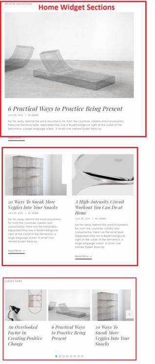 Slush Pro Widget Sections on Frontpage