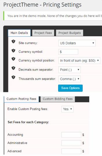Project Theme - Price Settings