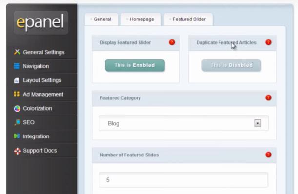 ePanel Options - eStore Elegant Themes
