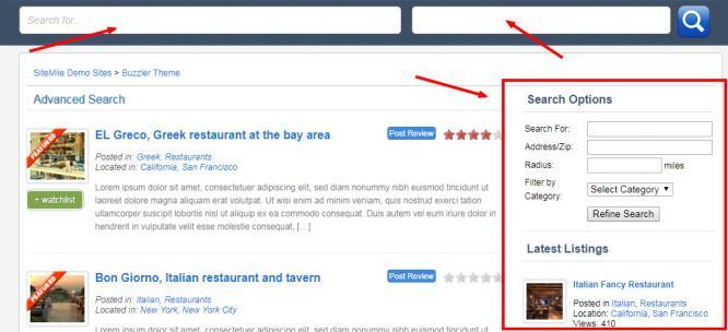 Advanced Listing Search Options - Buzzler WordPress Directory Script
