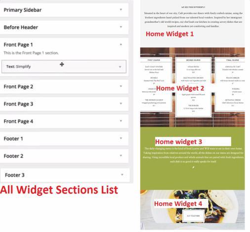 Frontpage Widgets - Cafe Pro Genesis Theme
