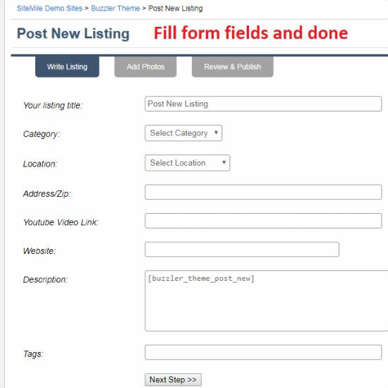 Post New Listing Form - Buzzler