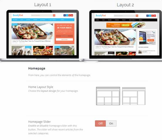 SociallyViral Frontpage Layout Options