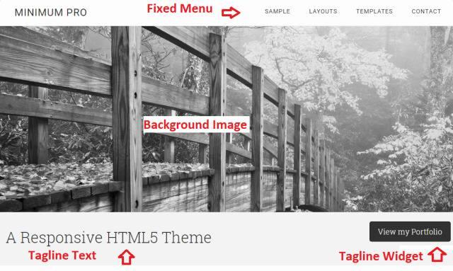 Background Image - Fixed Menu - Tagline Widget - Minimum Pro
