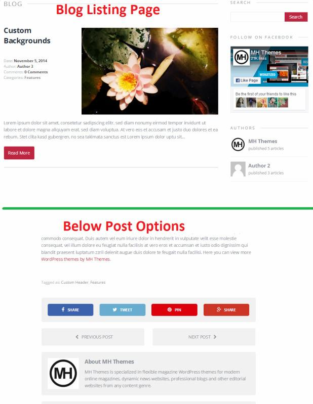 Blog Page and Post Layouts - MH Elegance