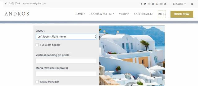 Header Layout Options - Andros