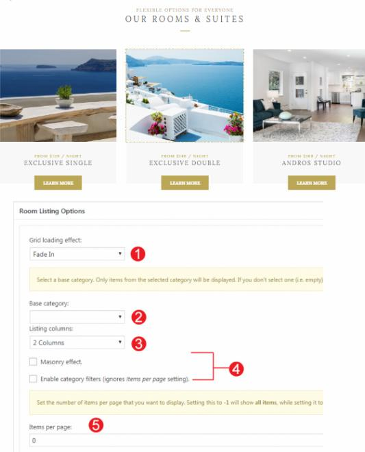 Rooms Page Options - Andros
