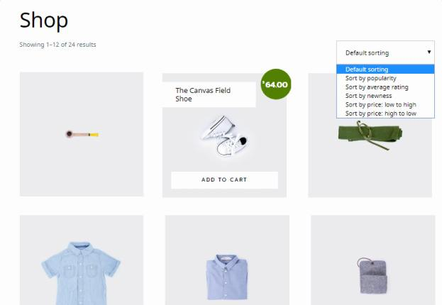 Shop Page Sort Options - Outfitter Pro WooCommerce Theme