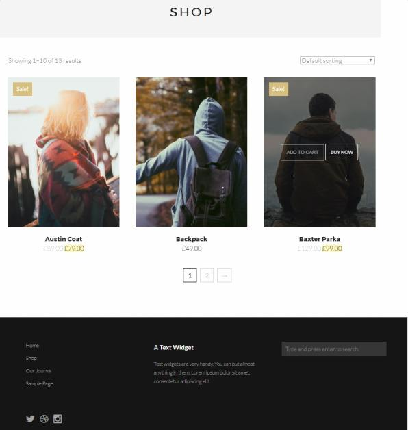 Shop Page and Filter Options - Gear