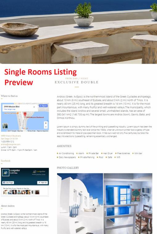 Single Rooms Listing - Andros