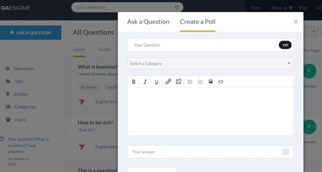 Add Questions and Polls - QAEngine