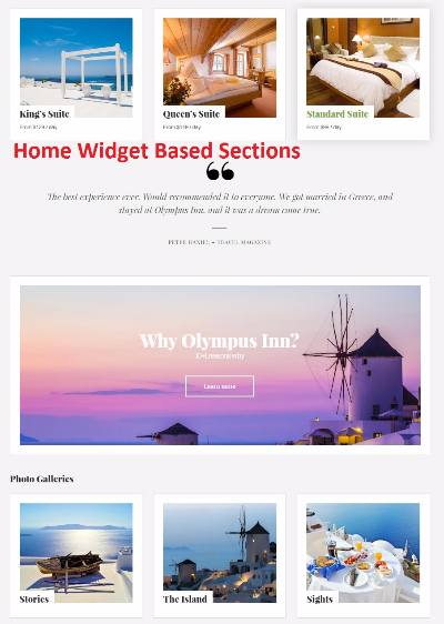 Homepage Widget Content Sections - Olympus Inn