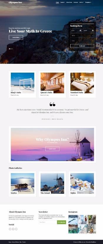 Olympus Inn CSSIgniter : Best Hotel Resort WordPress Theme