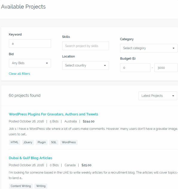 Project Search Module - FreelanceEngine