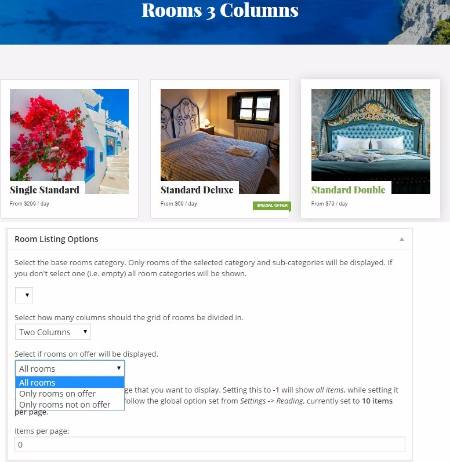 Rooms Page Listing Options - Olympus Inn