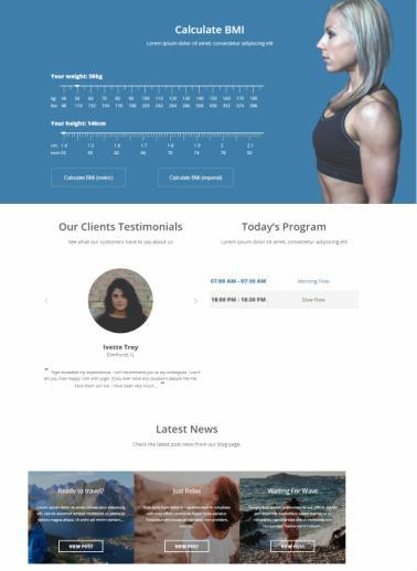 BMI Calculator and Testimonials - Woga PRO Theme