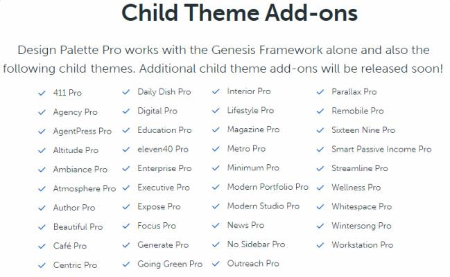 Child Theme Add-Ons Support - Design Palette Pro