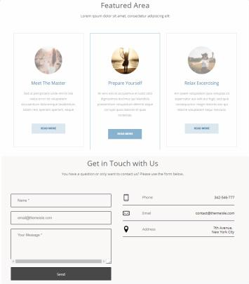 Featured and Contact Widget Sections - Woga PRO