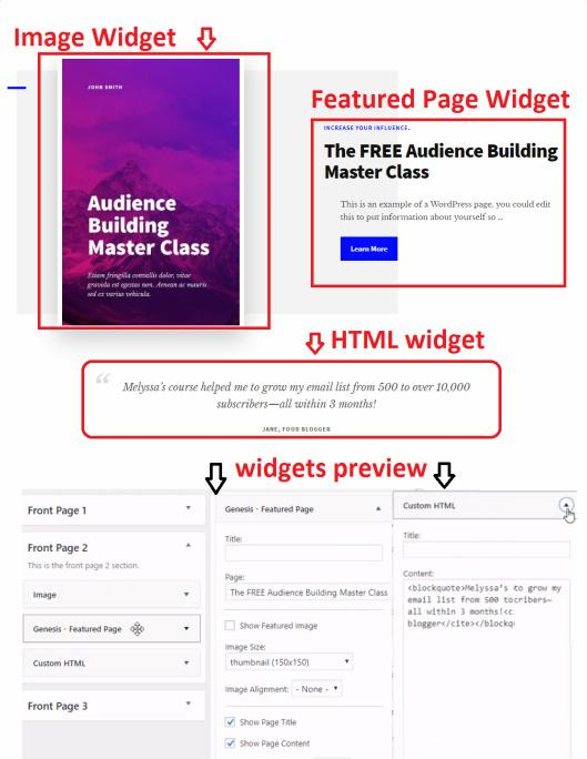 Frontpage Widget Areas - Authority Pro StudioPress