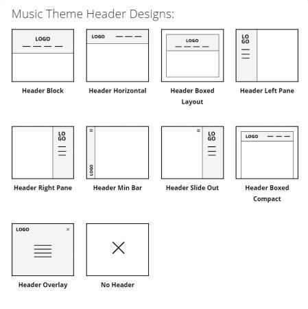 Header Designs - Music Theme
