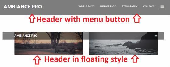Header Header and Menu Options - Ambiance Pro blog theme