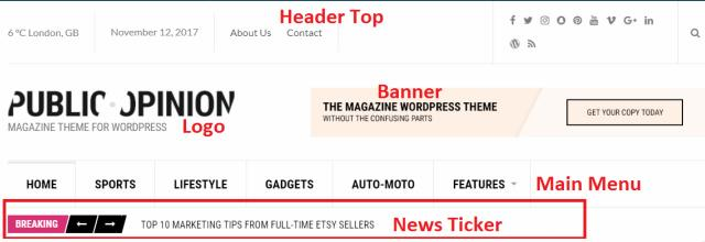 Header and News Ticker Options - Public Opinion