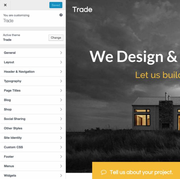 Trade Theme Customizer Options