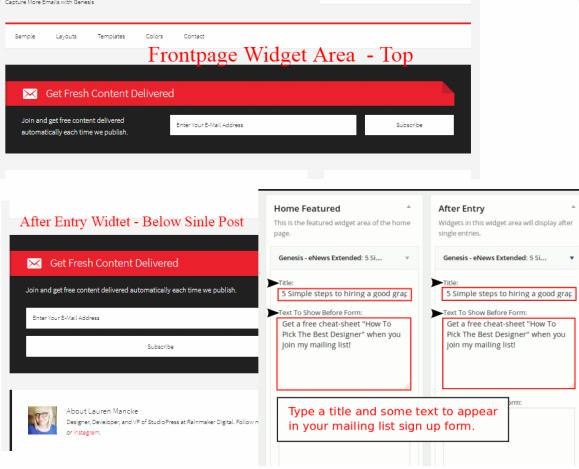Frontpage and After Entry Widget - Generate Pro