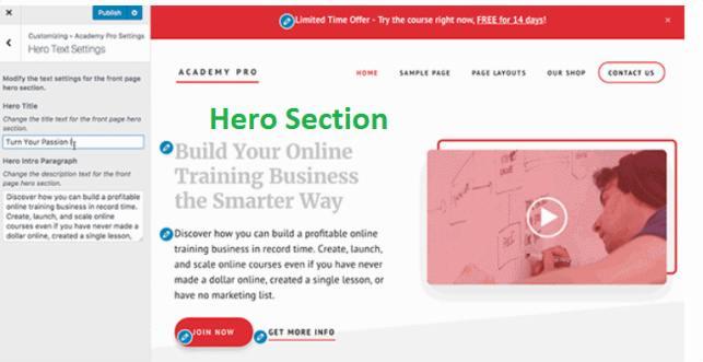 Hero Settings - Academy Pro Homepage