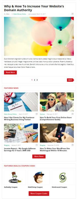 Homepage Fetured Deals and Blog Posts - Improve Theme