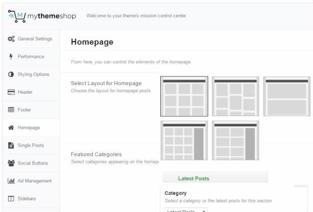 Homepage Layouts - Ad-Sense MyThemeShop Options Panel