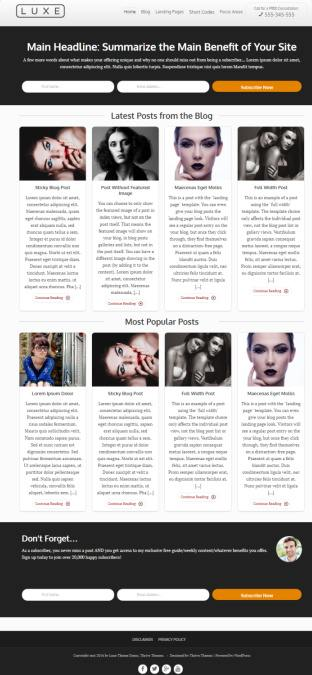 Luxe Review Thrive Themes - WordPress Blog Landing Page Theme