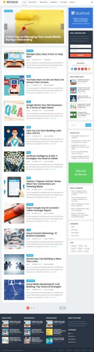 Revenue WordPress Magazine / Blogging Theme : HappyThemes