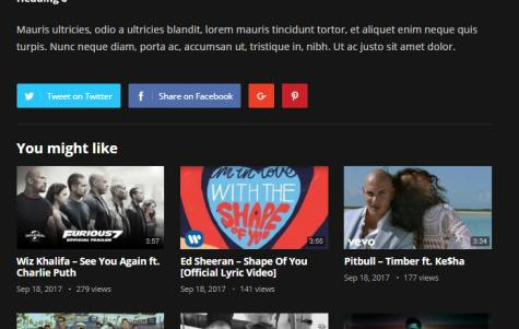 Sharing Buttons and Related Video Posts - VideoHost Theme