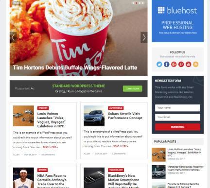 Slider and Fetured Posts - Standard Blogging Theme